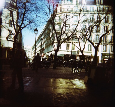 istillshootfilm:  Rue Saint Antoine in the dead of winter | Shot with a Woca and cross processed Fuji Provia 100 F