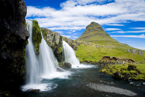 allthingseurope:     Kirkjufellsfoss, Iceland (by Gunnar Ó Sigmarsson)   I find Iceland's simple nature endlessly alluring! I will need to spend a holiday on that island in my young adult life.