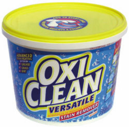 Using Oxiclean for Stain Removal In Episode 4 of Put This On, I address using Oxiclean to remove stains - particularly underarm stains. You can find the exhaustive system we recommend for removing even bad stains here, but here are some basics. To boost your laundry's cleaning power, add two or three scoops of Oxiclean to the load. To make an Oxiclean soak, mix four scoops of Oxiclean with each gallon of water. You can then soak garments for as long as 24 hours. To make a super-concentrated pre-treatment, add one scoop of Oxiclean to about 12 ounces of water - that's about a water glass full. You should always test if you're concerned about color fastness, but I've frankly never had Oxiclean take color out of my clothes.