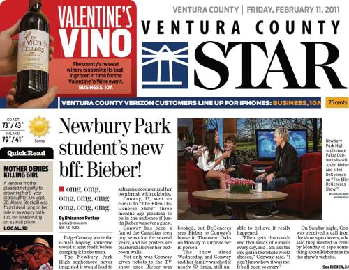 From Friday's Ventura County Star: Note the headline, then note the deck. Especially note the deck. This is the A1 lead story that day. Journalism should be proud. omg, omg, omg, omg, omg, omg, omg, omg! (thanks Adam Griffiths for the heads-up)