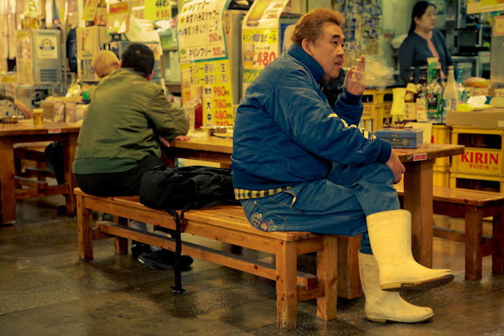"PEOPLE OF JAPAN 19 - ""CIGARETTES AND BOOTS"" How incredible is this guy's outfit? Pop Quiz: When Vicki and I laid eyes on this man we both instantly decided that he was Japan's version of a famous 80's comedic actor. Name that actor!!! Hint: The actor was Canadian and he was once in a film with Steve Martin that Vicki and I consider to be hands down the best ""buddy film"" of all time (it actually might be my favorite movie ever)."