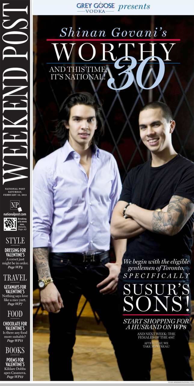 Shinan's Worthy 30: Canada's most eligible bachelorsYou've got male. Time again for our quasi-annual, totally unscientific, wholly fun-edition of The Worthy 30, the Toronto edition. Today: the gents' turn. Here, so — in no particular order — a round-up of this year's catch-me-if-you-can cads, chivalrous mensches, heart fortune-hunters, and the odd cougar-bait.