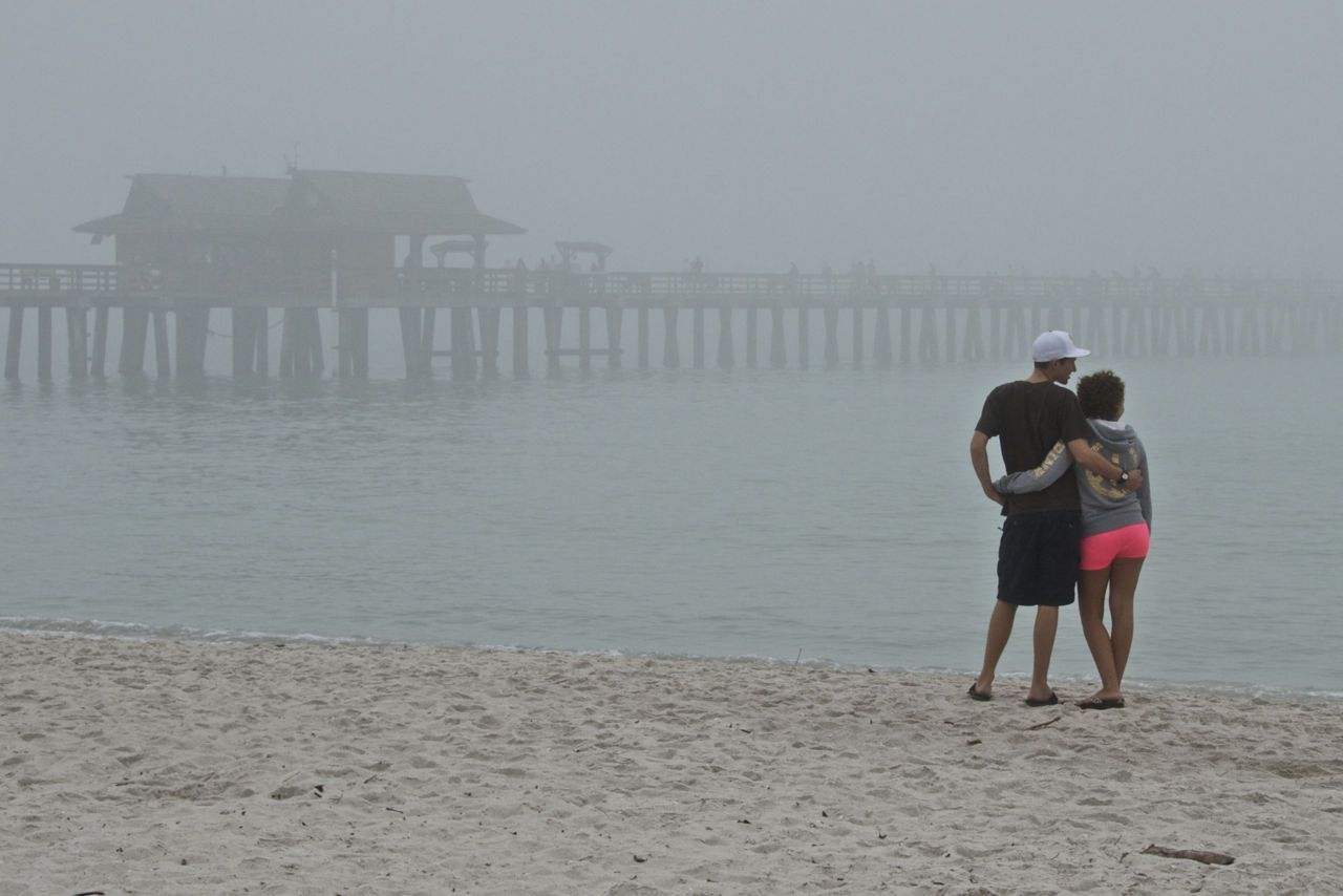 Happy Valentines Day  Foggy day on the beach.