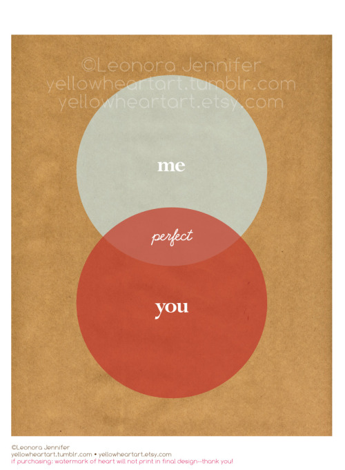 """YOU + ME Are Perfect Together"" Venn Diagram - Graphic Print by Leonora Jennifer for Yellow Heart Art Thought this was fun to make for Valentines Day. Enjoy! Want to grab one yourself? Then click on over here"
