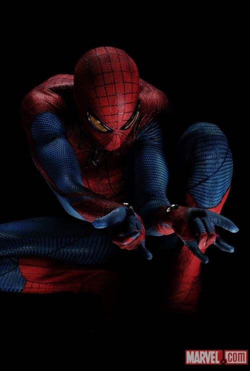 "herochan:  Agent_M: ""It's official, the next Spider-Man movie—opening July 3, 2012—will be called The Amazing Spider-Man. This is the first full-costume photo from the movie. Mechanical web shooters like whoa! Full details and more, via Marvel.com."""
