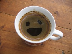 Coffee as happy to see me as I am to see it! Click image for more pareidolia.