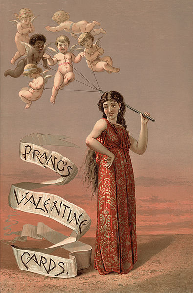 Advertisement for Prang's greeting cards, showing a woman holding a group of tethered cherubs, who float like a bunch of balloons above her. This valentines card is from 1883 !!!