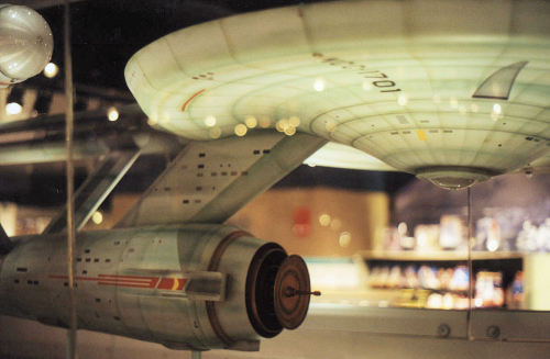 startrekisseriousbusiness:  Enterprise studio model at the Smithsonian Air & Space Museum.  Reblogging again, beause goddamn pretty. Matt Jefferies was my hero.