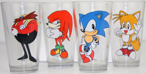 Sonic cups let you drink out of cups There was an amazing lack of Sonic merch during the '90s, and now most of the merch features the newer, lankier Sonic. These pint glasses bring it way back to the Sonic 3 and Sonic & Knuckles era though. And they're only $23 at Spencer's. They're sold out (for now) online, so you might have to go to the mall to pick up a set. [Spencer's Gifts via The Drunken Moogle]