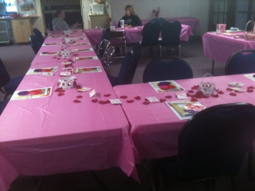We had our monthly ladies meeting on Valentine's Day because we usually have our meeting on the second Monday of each month. We have widows and single women in our group, so we thought this would be fun for them.