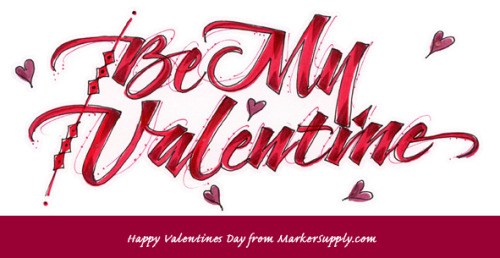 Lovely Valentines lettering done by Linda using the Brushable Markers!