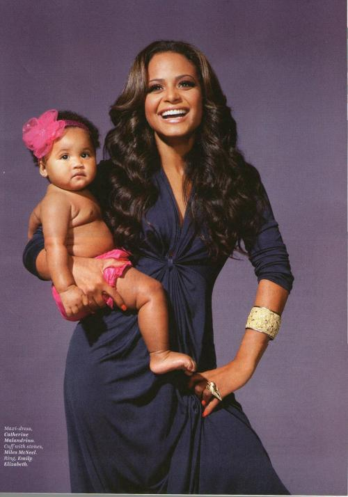 celebutots:  Christina Milian & Violet in Latina February issue