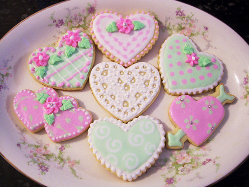 Mint green and pretty pink hearts.
