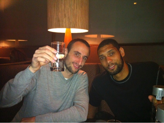 Nothing to see here, just Manu Ginobili & Tim Duncan, hanging out on Valentine's Day. Enjoying some post victory glasses of water. Cheers!