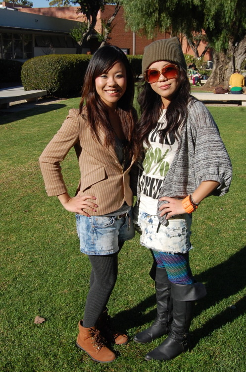 Name: Satomi (left) & Tomomi (right) Age: 23 Major: Fashion Merchandising Class standing: Senior Occupation: Student One work to describe yourself: Unique Style inspiration: Harajuku style Favorite places to shop: Buffalo Exchange, Urban Outfitters, Imonni, Japanese stores       These twin fashionistas may have the same birthday, but their personal styles are worlds apart. Tomomi mused that she usually goes for a sleek black look, contrasting with her sister Satomi who's usually shining in technicolor. We caught them on a rare day of role reversal, but just had to capture this sister duo's eclectic Harajuku inspired style. From Satomi's hazelnut blazer to Tomomi's neon watch and tights, these girls play it cool while keeping warm and bring a new twist to old classics. - S Get the Look:  Designers Love It Too:  Bailmain Spring 2011  |  3.1 Phillip Lim Resort 2010  |  Rag & Bone Spring 2010 Comment