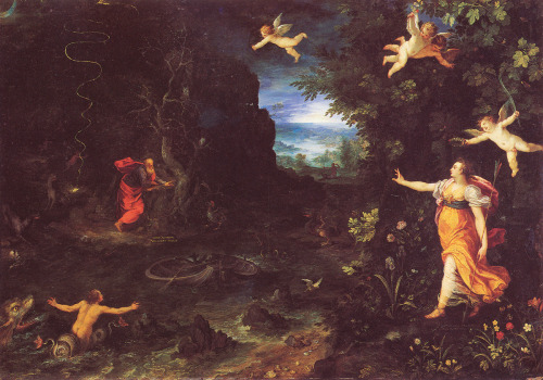 Jan I Brueghel : Circe and Odysseus (  Circe is probably painted by Hans Rothenhammer ) 1595oil on copper51x35cm Based on the famous engraving by Ghiorgio Ghisi It's fascinating to observe how in those days composers used eachother's themes and visual artists used eachother's compositions and ideas. Bruegel's elder son Pieter II took over his father's studio and kept on recreating the thems his father was famous for. Perhaps with lesser talent, but no-one can doubt his talent for story-telling. Nowadays, everything has to be original. And I sometimes wonder to what extend this I-me-mine defineability is inspired by copyrights and blatant shake your money-maker commercialism… Art as a means to growth and evolution is *not* about doing things differently or leaving something behind and replacing it by something new, but about adding to personal experience and growth. It's not about following a path, but about adding year-rings, like a tree.