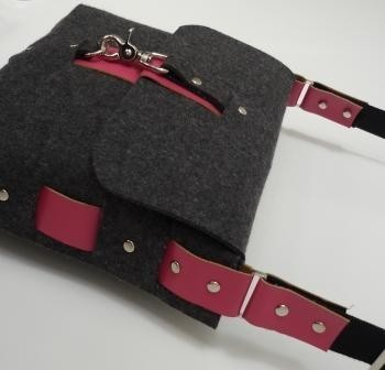 Dark Grey Felt Messenger Style Bag with Red Leather by kazzki