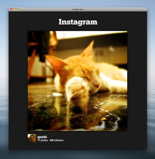 So I've decided to share my Instagr.am UserCSS customisation. I found myself clicking a lot of instagr.am links in twitter, and the landing page was just too full of marketing material. Knocked it all off, and increased the image size from 480px to 612px—I've always liked bigger pictures. Grab the code if you feel like it.
