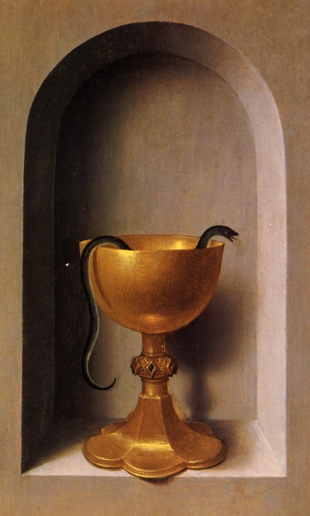ratak-monodosico:  St. John and Veronica dyptich (right wing)  Hans Memling (Memlinc), Netherlandish, c. 1430 – 1494Oil on wood, 31,6 x 24,4 cm, National Gallery of Art, WashingtonThe gold chalice with a serpent is a symbol of redemption. It is referring to the legend of St John the Evangelist who, ordered to drink a cup of poisoned wine, made the sign of blessing, and the venom was miraculously drawn from the liquid.