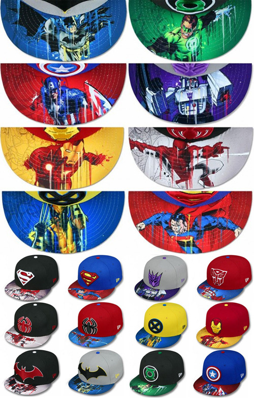New Era x DC Comics x Marvel x Transformers x OHMYGAWD! So many franchises! This is the New Era Super Hero Collection featuring Superman, Spider-Man, and Batman who get two versions of their hats each, along with Wolverine, Iron-Man, Green Lantern, Captain America, Optimus Prime, and Megatron. You can currently get them from Amazingstore.