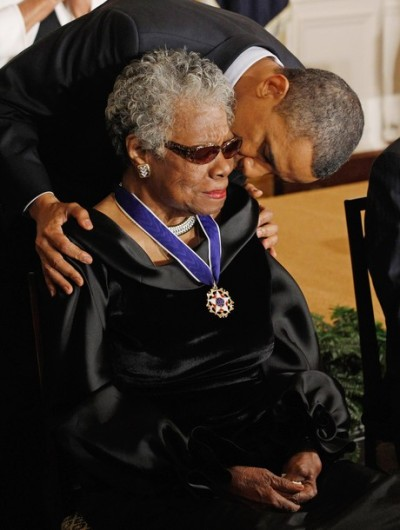 blackamazon:  keystheoryofrelativity:  President Obama kisses poet and author Maya Angelou after giving her the 2010 Medal of Freedom in the East Room of the White House February 15, 2011 in Washington, DC.  I has issues and hearts for both these peopel but god damn ain't love to each other beautiful