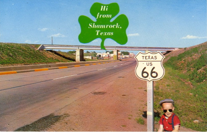 "HI FROM SHAMROCK, TEXAS Mayor of Shamrock at bottom right? Verso:""Entering SHAMROCK, TEXAS on scenic 4-lane highway U.S. 66 and Interstate 40. Thousands of tourists visit this fast growing wheat and cattle town each year."" And what do the thousands of tourists do in Shamrock?"