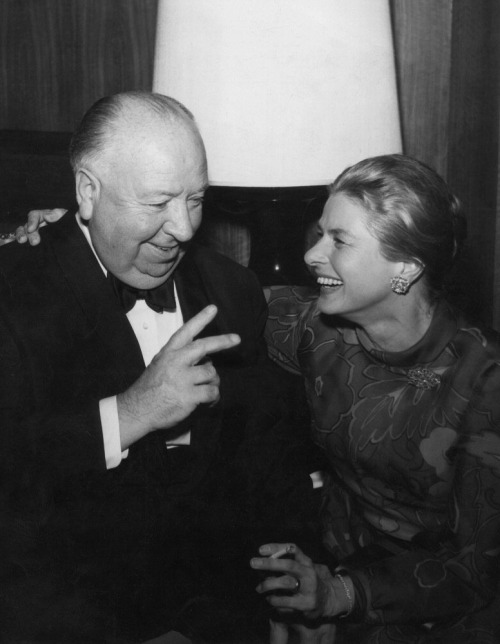 awesomepeoplehangingouttogether:  Alfred Hitchcock and Ingrid Bergman