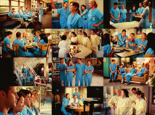 "sheburnsaway:  Top 5 Grey's Anatomy Ships | #05: Meredith/Cristina/Alex/Izzie/George  ""So, I made it through my first shift. We all did. The other interns are all good people. You'd like them. I'd think. I don't know. Maybe."""