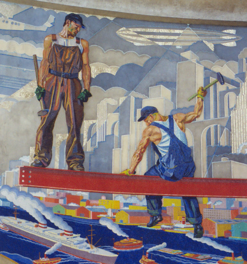 Cincinnati Union Terminal; WPA mural  German artist Winold Reiss was commissioned to design and create two 22 foot (6.7 m) high by 110 foot (33.5 m) long color mosaic murals depicting the history of Cincinnati for the rotunda, two murals for the baggage lobby, two murals for the  departing and arriving train boards, 14 smaller murals for the train  concourse representing local industries and the large world map mural  located at the rear of the concourse. Reiss spent roughly two years in  the design and creation of the murals. Many of these murals were removed  during subsequent renovations and placed on display at the Cincinnati/Northern Kentucky International Airport.  MORE  greatestgeneration: Depression Architecture:  Who else out there is doing a great job blogging about art, politics, literature, and war? We want to know! Well, I wouldn't be a good blog owner if I didn't pimp Art Deco Architecture — which your followers should love because it's basically 1920s-1950s  architecture with an absolutely ton of 1930s and Great Depression  buildings. There are also many historical photos from archives, WPA murals and renewal projects, etc.