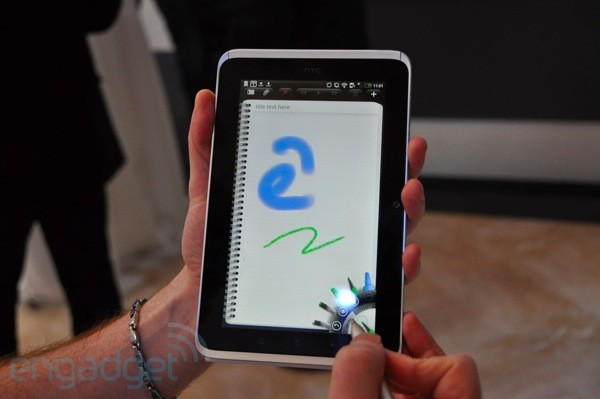 A closer look at the HTC Flyer's screen, stylus, and Scribe — Engadget that makes two seven inch android tablets announced with capacitive stylii and pressure sensitivity, plus this wild piezeoelectric number promising resistive accuracy with capacitive response-time using any old pointing device. or rather, i'm clearly not the only one who's been waiting for an electric moleskine.  i think in a couple of years you're going to see a lot of webcomics drawn on tablets and uploaded in real-time. possibly all by me, so 'a lot' in this case is a relative measurement.  still, though.