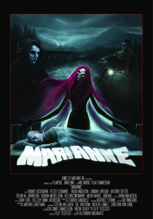 "Eye catching poster art for Swedish horror flick, ""Marianne"", harkens back to old skool design style. Looks rad.  Dread Central"
