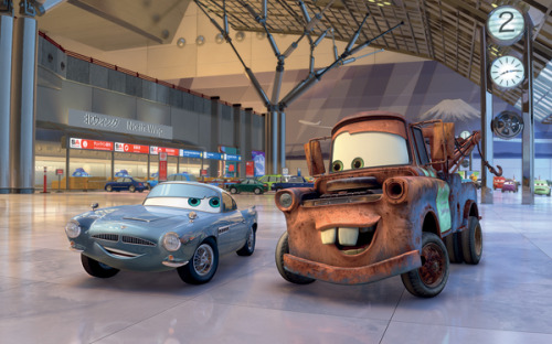 Cars 2 world exclusive image! Pixar's Cars 2 vrooms into cinemas later this year, and we've just landed a world exclusive image from the movie. Showing off an encounter between new character Finn McMissile (voiced by Michael Caine) and everybody's favourite buck-toothed rust bucket Mater (voiced by Larry The Cable Guy).