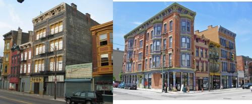 Great before-and-after of 12th & Vine in Over-the-Rhine, Cincinnati.