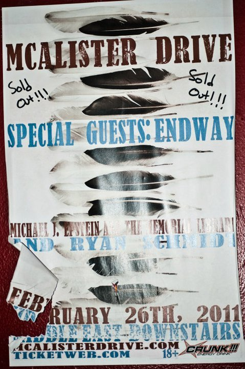 The flyer for our upcoming SOLD OUT CD release show at the Middle East Downstairs! I saw this when I was at a show at the Middle East Upstairs. Also, this is the first in what will probably be a long line of people getting our name wrong. (Should be The Michael J. Epstein Memorial Library, not Michael J. Epstein and the Memorial Library.) In any case, hooray! Can't wait for the 26th!