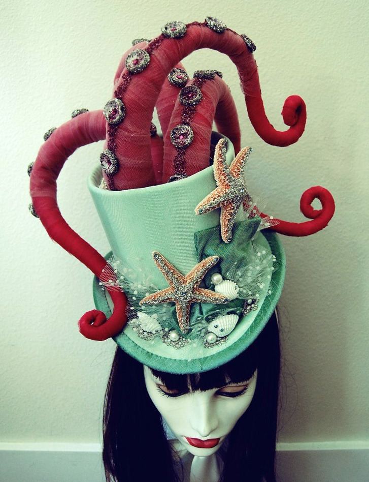 Custom Octopus Tentacle Victorian Masquerade Top Hat, $315