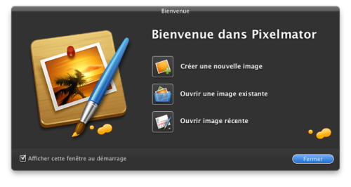 "Pixelmator - The ""Open recent picture"" on the start screen of Pixelmators displays the actual last opened picture right in the icon (see the image in between the brush and the wooden board). /via nWODT_Cobalt"