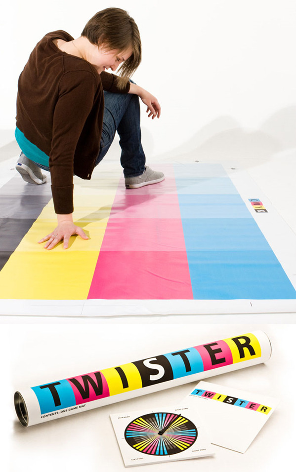 CMYK Twister made by Brigham Young University graduate Jessica Blackham for a class project. [Superpuncha via The Dieline]