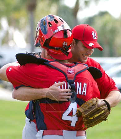 Adam Wainwright and Yadier Molina, February 16, 2011 Photo courtesy of Scott Rovak
