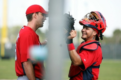 Adam Wainwright and Yadier Molina, February 16, 2011