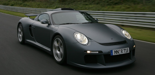 The 2008 Ruf CTR3 is without doubt the perfect garage-mate to all the Batmobiles. Its 3.7-liter twin-turbo flat-6 engine delivers 700 bhp (DIN) at 7000 rpm and provides 657 lb.-ft. of thrust at 4000 rpm — enough to catapult the sub-3100-lb. mostly carbon-fiber-bodied machine up to 62 mph in less than 3.2 seconds. With a transverse 6-speed sequential racing gearbox, the CTR3 can reach a top speed of 233 mph.