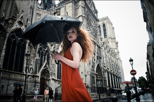 """Paris""  SingaporeBrides  photographer: Zhang Jingna in red outside Notre Dame Cathedral, Paris, France Paris on Fashion Served"