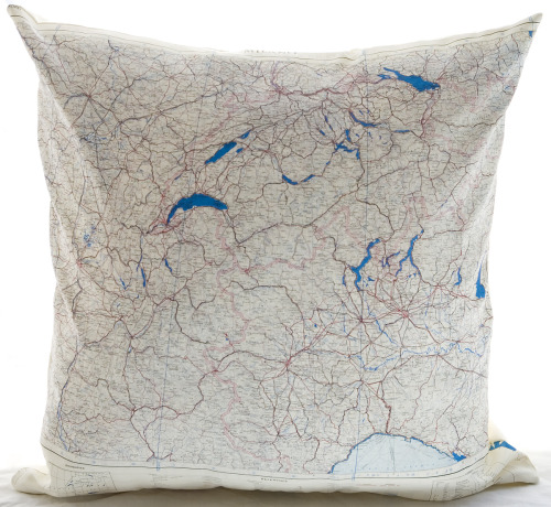 "New Atelier 688 original silk aviator map cushion (Milano) 22x22"" $185.00"