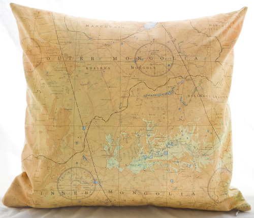 "New Atelier 688 original silk aviator map cushion (Mongolia) 16x16""  $120.00"