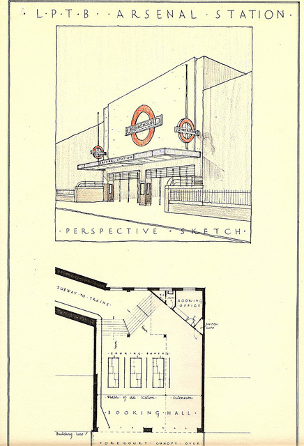 London Transport - Arsenal station design sketches, August 1930 (by Mikey): A sketch from the offices London Transport Architects illustrating the proposed reconstruction of the facade of Arsenal station in 1933. This swept away the 1906 Leslie Green facade and delivered this uncompromising 'moderne' elevation that largely survives to this day. Given the huge LT roundel on the facade and the two cantilevered versions there's no doubting it is a tube station! See also: Holborn station reconstruction sketches, 1933 (by the same uploader).
