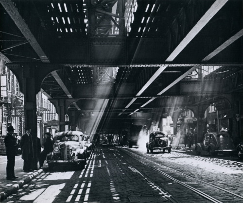 Andreas Feininger The Bowery under the shadows of the Third Avenue el, circa 1940s From New York in the Forties Thanks to liquidnight