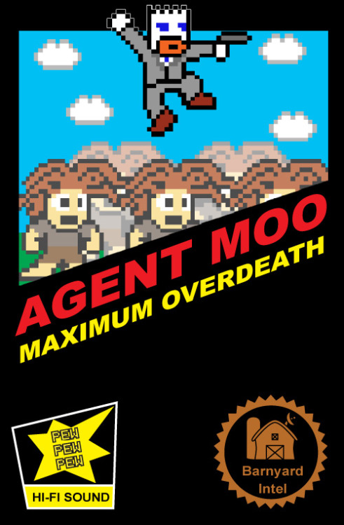 This is an 8-bit demake poster I made for my XBOX Live Indie Game, Agent MOO: Maximum Overdeath.
