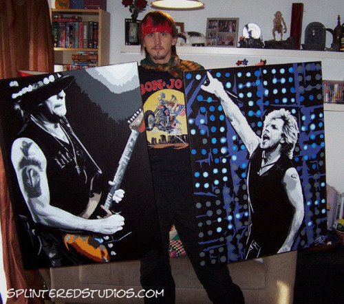 JON BON JOVI AND RICHIE SAMBORA FINISHED! - After a month of painting, they are both shiny and done! …. proudly showing them off along with my vintage 89' Jovi tee lol http://www.splinteredstudios.com Decent photos of these paintings on this Tumblr post:  http://fuckyeahstephenquick.tumblr.com/post/3461676957/jon-bon-jovi-richie-sambora-final-photos