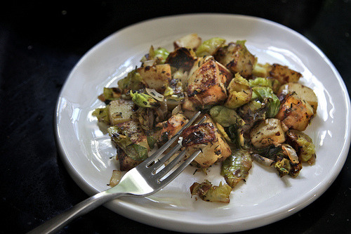 I would happily eat this for breakfast, several times a week. Brussels Sprout-Potato Hash › shutterbean