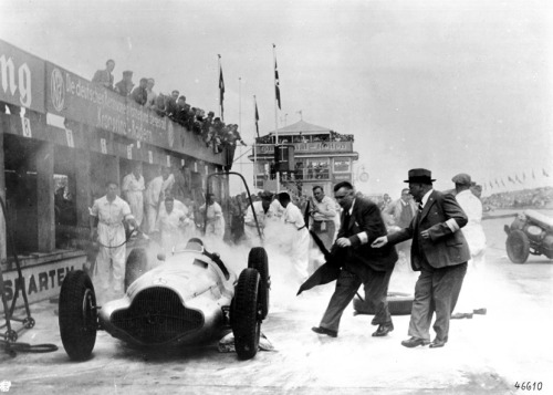 Von Brauchitsch car after it got fire during the pit stop at 1938 the nurburgring gp.