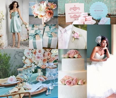 onthewaydowntheaisle:  Blue and pink board blissfulweddings:  love her dress, the favors and the simplicity of the cake! I love the quilting effect. subtle but pretty!